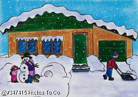 Illustration: Shoveling snow